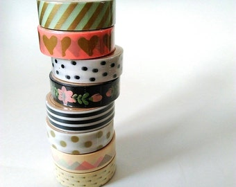 Pastel washi tapes assorted - gold, pink, mint green, polka dot