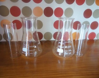 60s Erlenmeyer flasks, wide neck 5.5 cm (2.16 in) and rare Tubes has thoroughly flat test, PYREXet DURAN, France, pharmacy, industrial deco jars