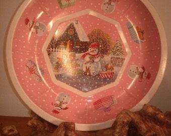 Primitive Tray Pink alte platte kinder spielen winter schneeman geschenke vintage runde tablett Deutschen cookie tray alte Servir Oma Zeit