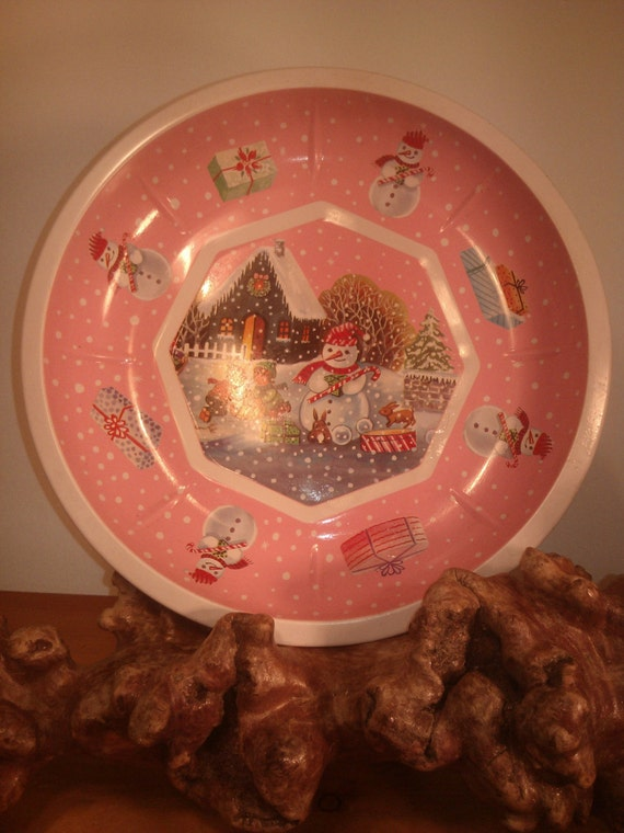 AntikCristmas German primitive tray pink plate olds gifts play vintage tray German cookie tray