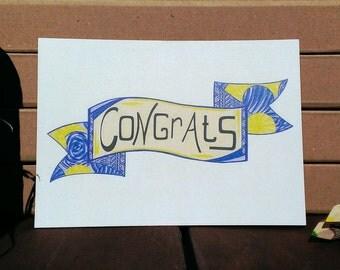 Card Congrats - A6 Postcard - Blank Card - Birthday Card - Congratulations Card - Card Recycled Paper.