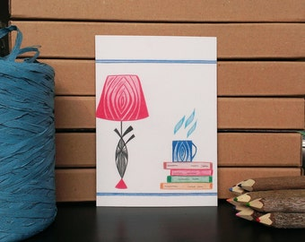 Card Twilight Lamp and Books - A6 Postcard - Blank Card - Just Because Card - Card Recycled Paper.