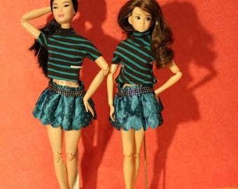 Lambada Skirt  and  shirt  fr   1/6 dolls  like  Barbie, Momoko or  Cy-girls