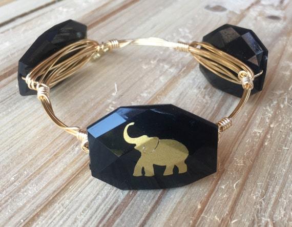 Elephant Bangle, Elephant Bracelet, Wire wrapped bangle, FREE SHIPPING through 12/14/16