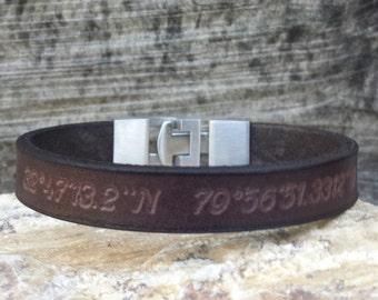 FREE SHIPPING-Custom Coordinates,Mens Personalized Leather Bracelet,Latitude Longitude, GPS Coordinates Leather Cuff,Men Leather Wristband