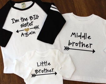 big sister shirt, little brother shirt, Middle Brother Shirt, Brother Shirts,  big sister shirt, little sister shirt, big brother shirt
