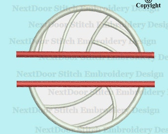Split volleyball embroidery design,  ball machine embroidery applique 5 sizes,  BX file included,  sp-013