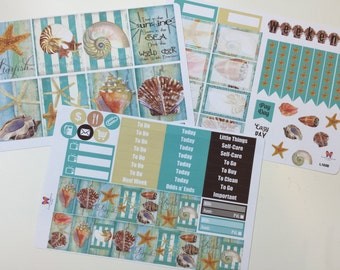 Seashell Planner Sticker Weekly Kit || Beach Vacation L322ABC