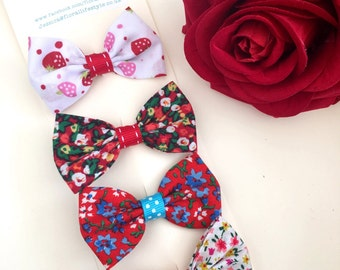 Hair bow set - Rosy in Red
