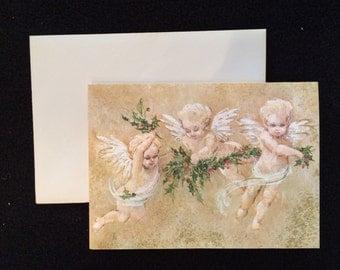 Vintage Hallmark Note Cards Three Angels
