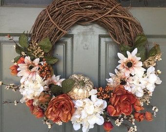 Fall grapevine floral wreath with metallic pumpkin and burlap bow, year round front door wreath, door wreath, fall wreath