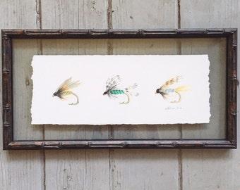 Watercolor Flyfishing Flies