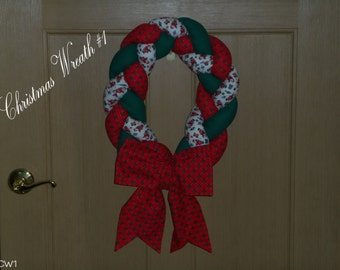 Red, Green and Yellow Fabric Wreaths