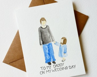 Brides card for dad, unique/Wedding Day cards/ semi custom. Daddys Little girl.