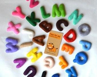 Colorful Felt Alphabet-felt alphabet-felt letters-educational game-preschool-handmade alphabet-stuffed alphabet-felt ABC