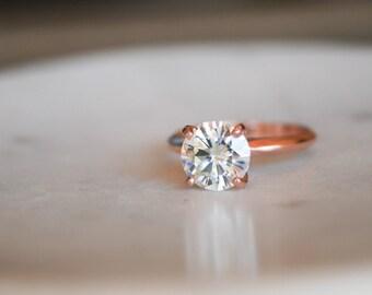 Round Moissanite Solitaire Engagement Ring, Rose Gold Ring, Wedding Ring, Engagement Ring, Moissanite, Forever One Moissanite