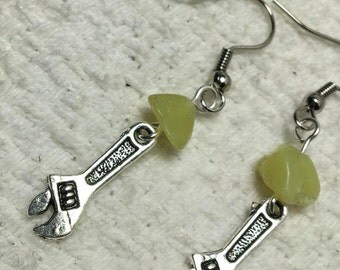"Handmade Genuine Green Serpentine ""New Jade"" Natural Stone Industrial Mini Silver Wrench Tool Earrings Jewelry"