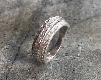 Triple Band Ring, Diamond Band, CZ Diamonds, Triple Band, Silver Band, Solid Silver Ring, Solid Silver Band, Pure Silver, Wide Band Ring