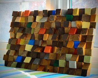 Reclaimed wood wall art, Rustic Wall Art, Wooden Art Wall Sculpture, Reclaimed Wood wall Art, wood mosaic, geometric art