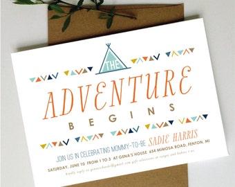 Adventure Baby Shower Invite | Tribal Baby Shower Invitation | Wilderness Baby Shower Invite | Printable Invite | Printable Invitation