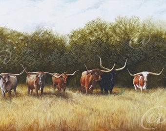 original oil painting, longhorns, cattle, Texas, scenery, landscape, realistic, detailed, large, Jan Brown