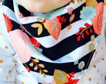 Baby bandanna bib, Black and white, floral, baby girl, bandanna bib, drool bib, bibdanna, baby bib