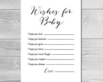 Black and White Baby Shower Activity - Wishes for Baby - Instant Download Printable - Gender Neutral