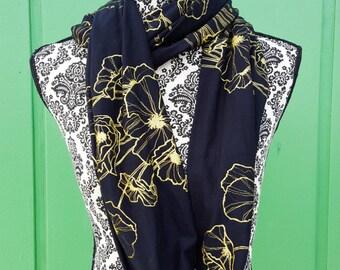 Infinity Poppy Scarf, Jersey Knit Poppy Scarf,  Loop scarf, Infinity Scarf, floral scarf