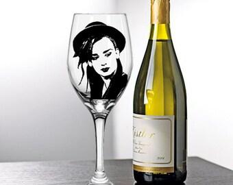 Boy George, Painted Wine Glasses, Painted Wine Glass, Hand Painted Wine Glasses, Painted Glasses, White Wine, Red Wine, Stemless Glasses