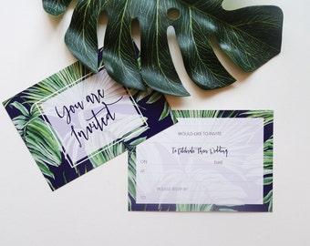 Write your own wedding invites, tropical wedding invitations, palm tree invites, modern typography