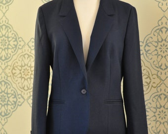1980s Navy Blue Fitted Blazer