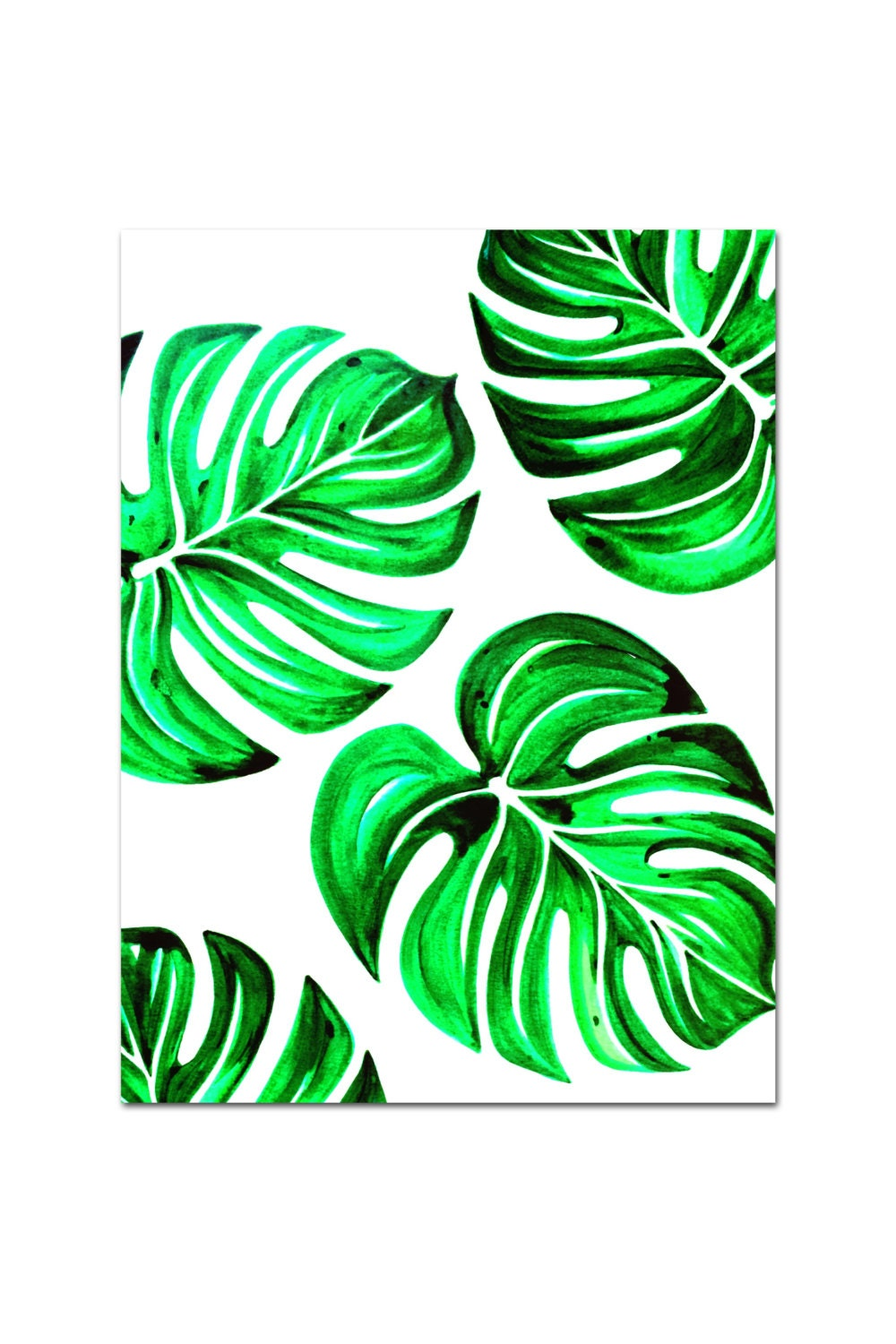Tropical Leaves Wall Decor : Tropical leaves wall decor fine art giclee print of by