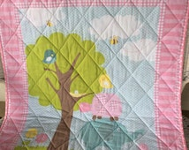 Elephant quilt, turtle quilt, tree and bird quilt, pink quilt, blue quilt, baby quilt, baby shower gift