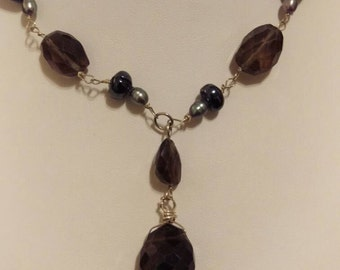Genuine handmade smoky quartz, freshwater pearl and sterling silver necklace.