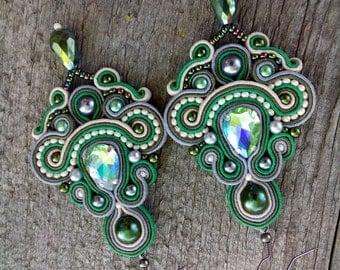 Unique Glamour Green Long Earrings-Statement Soutache Earrings - Hand Embroidered Soutache Jewelry - Green Sparkling Chandelier Earrings