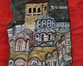 Painting on Chilandary Monastery St. Athos rock