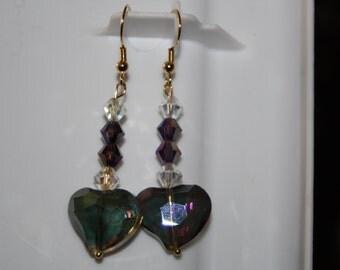 Purple & Green Glass Heart Earrings