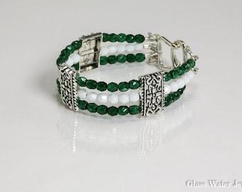 3 Strand Green & White, Silver Pewter Bracelet