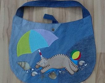 UniCat Bag - recycled denim, cat purse, handpainted denim