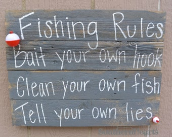 Fishing Rules Sign / Reclaimed Wood
