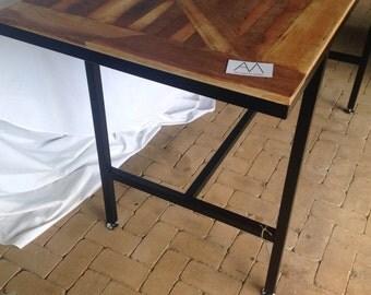 Reclaimed hardwood chevron high bar/dining table