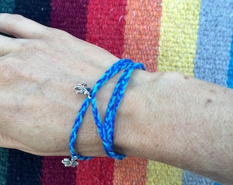 Blue 3 in 1 braided bracelet, necklace and anklet