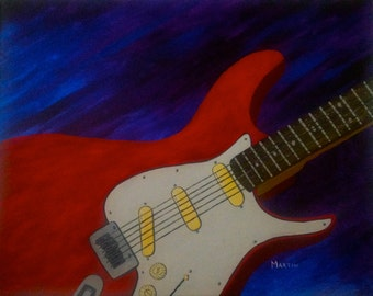 Gifts for men, gifts for him, acrylic painting, abstract painting, art painting, fine art painting, colorful painting, guitar painting