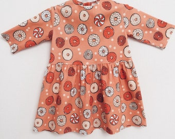 Sale! FREE WORLDWIDE SHIPPING! Organic baby dress Donuts