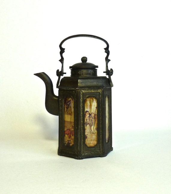 PEWTER CHINESE TEAPOT ~ With Scenic Glass Panels ~ Six Glass Panels ~ Republic Era China ~ Signed Teapot