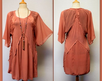 Rustic Lagenlook Designer Dress, Tunic, Top, Rayon Lace Detail Work, Regular Sizes, Sizes S, M, L.