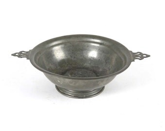 Pewter footed bowl serving antique vintage illegible mark handles