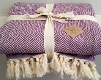 Woven Cotton blanket - Violet Diamonds Blanket throw -  Large Picnic Blanket -  Fashion Coverlet -  80x95 inches ( 200x240 cm )