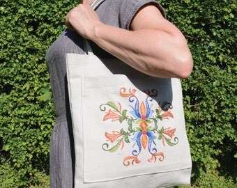 Embroidered Fabric Bag (with pocket)