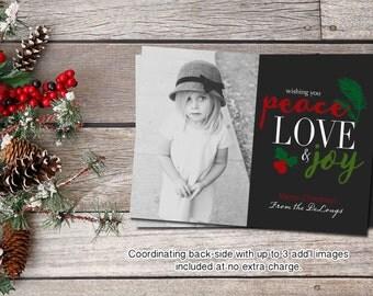 PEACE LOVE & JOY | Christmas Photo Card | Holiday Photo Card